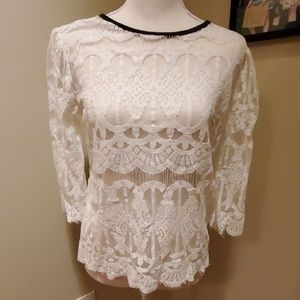 NWOT White Lace 3/4 Sleeve Top